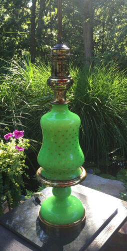 Vintage French Green Opaline Glass w/ Gold Stars