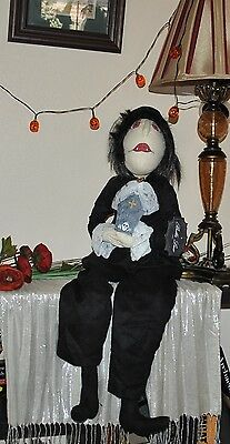 NEW BELLA LUX ZOMBIE RIP Wicca Prim Style Cloth Doll Halloween Folk Art 38