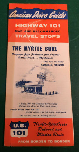 Vintage 1960 American Drive Guide Highway 101 The Myrtle Burl Coquille, OR Map