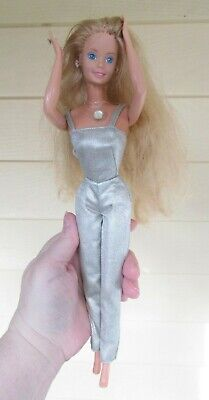 Mattel 1986 Jewel Secrets Superstar Barbie Doll in jewerly and silver jumpsuit
