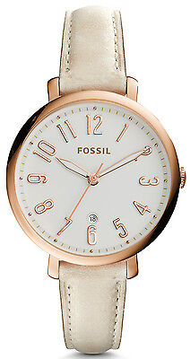 Fossil ES3943 Jacqueline Silver Dial Tan Leather Strap Women's Watch - Green Dial Tan Leather Strap