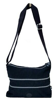 KIPLING Black Three Zipper Cross Body Nylon Purse.
