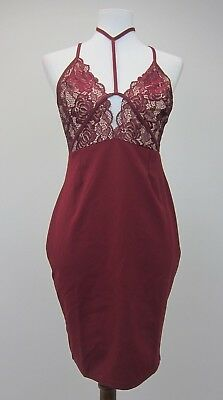 Boohoo Women's Mona Lace Harness Detail Bodycon Dress US 10 Berry  NWT ()