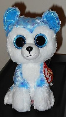 """Ty Beanie Boos - SKYLAR the 6"""" Blue Husky Dog~ Justice Exclusive ~ NEW ~IN HAND"""