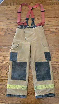 Vintage Firefighter Janesville Lion Turnout Bunker Pants Padded Suspenders Gear