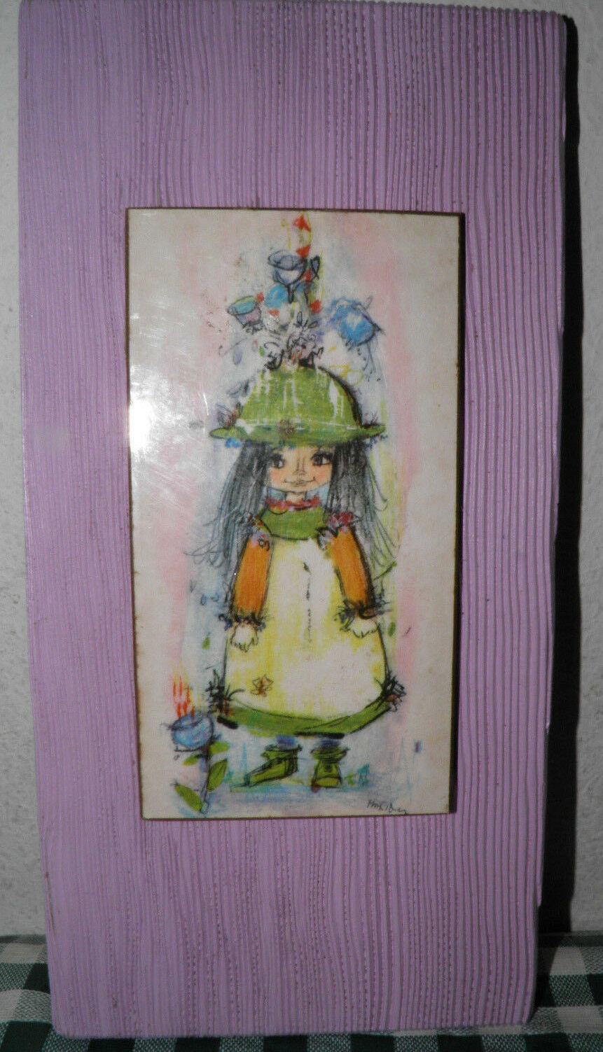1970s Boy Girl Decoupage Art Plaques Wall Decor Signed Marion 19 OFF 1 DAY  - $39.84
