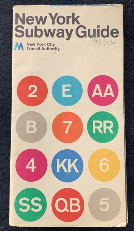 1972 New York Subway Guide Map Massimo Vignelli NYCTA Collectible Transportation