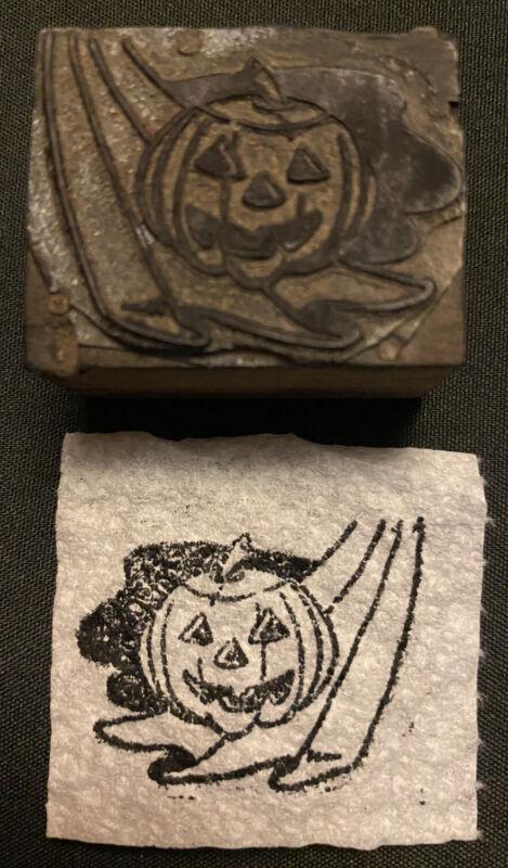 VINTAGE HALLOWEEN PRINTER BLOCK Stamp Jack O Lantern Pumpkin Antique 1920s 30s