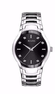 Bulova Men's 96D117 Quartz Diamond Markers Black Dial Bracelet 39mm Watch