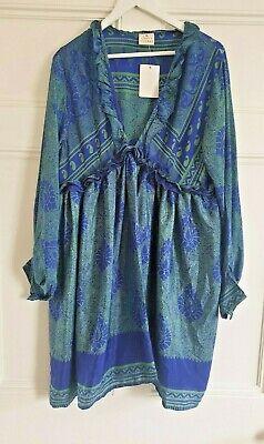 All About Audrey Silk Recycled Sari Dress Boho Hippie Folk Size XL...