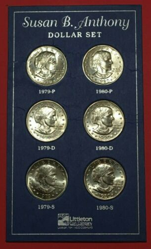 1979 - 1980 P, D, S 6 COIN SUSAN B ANTHONY UNCIRCULATED SET ** 1979 P WIDE RIM *