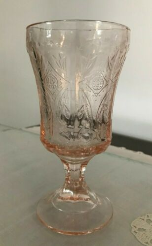 Vintage Pink Indiana Glass Depression Footed Water Goblets Cups Madrid Pattern
