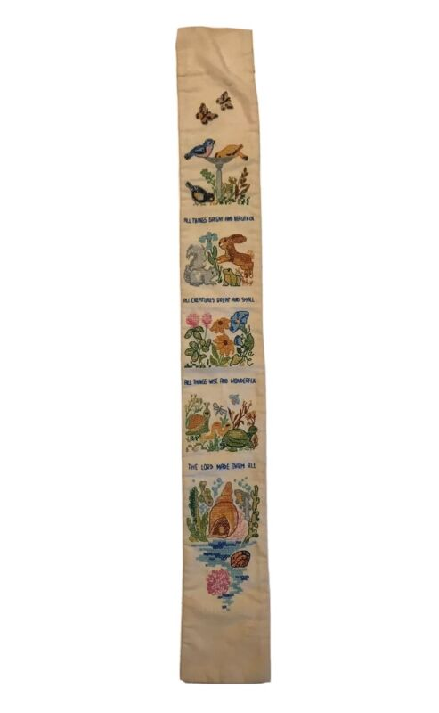 """Vintage All Creatures Great & Small Cross Stitch Wall Hanging 5"""" X 38.5"""" (W1)"""