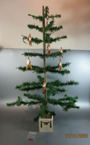 """Vintage Christmas goose feather tree Germany wood stand 34"""" Santa Chenille Elf"""