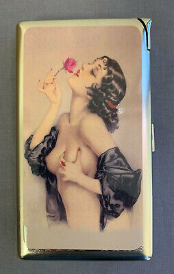 Metal 100's Cigarette Case with Built In Lighter Vintage Pin Up Girl D10