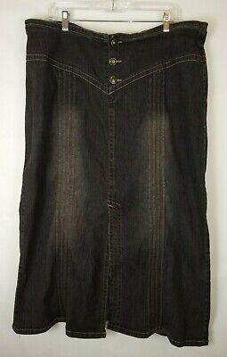 "Vezucci Denim Black Jean Stretch Flare Skirt - (Size 22)  35 1/2"" Long"