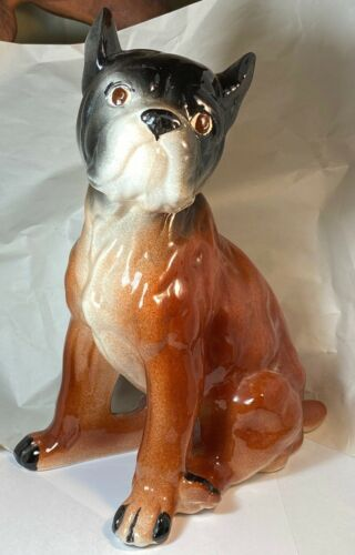 "Boxer Puppy Dog Ceramic Figurine 11""  Large"