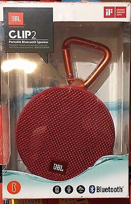 JBL HARMAN CLIP2 PORTABLE BLUETOOTH SPEAKER RED  WATERPROOF