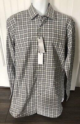 New The Men's Store Bloomingdale's Grey Natural Plaid Dress Button Up Shirt Sz L ()