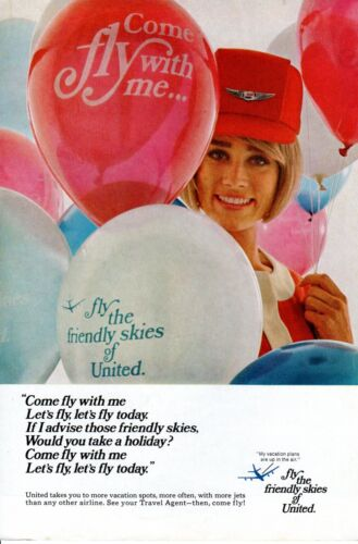Vintage print ad 1967 TWA Trans World Airlines Travel Balloons Stewardess pretty