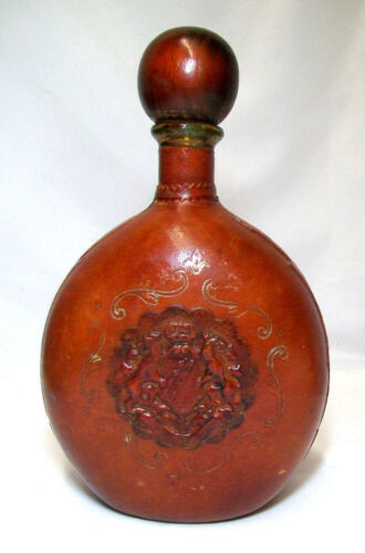 Vintage Leather Wrapped Whiskey Decanter Wooden Stopper 11 Inches GUC