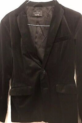 Zara Man Mens Velvet Blazer Jacket Black Lapel Collar Striped Size Small