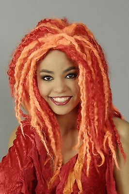 Perücke Calypso rot orange Dreadlocks Hippie Afro Teufel Hexe Fee