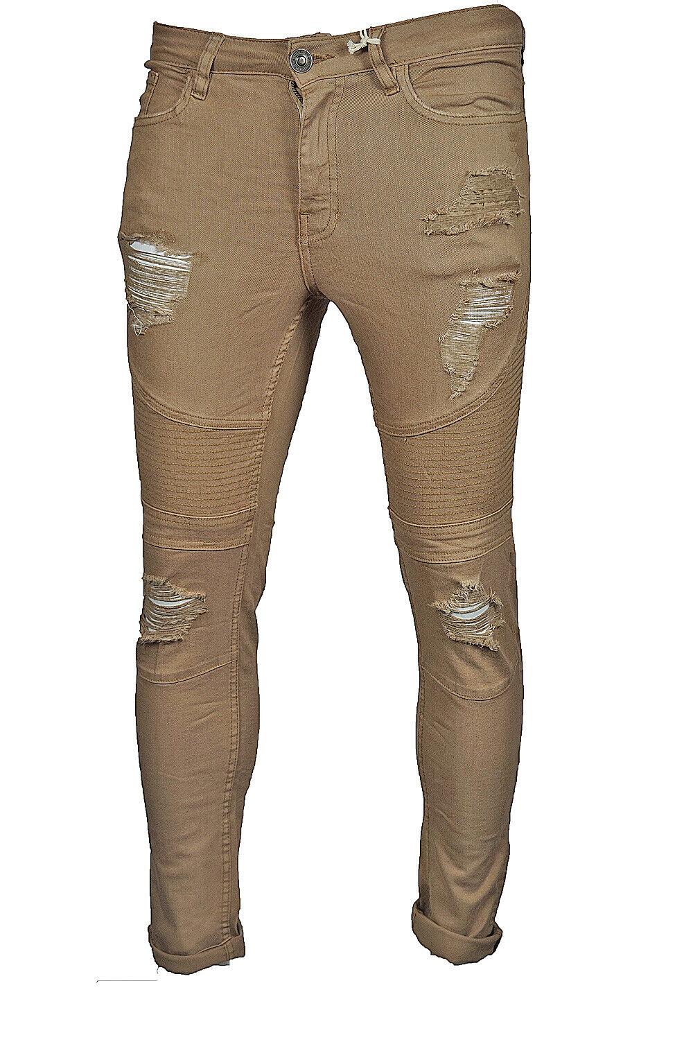 Uomo Super Skinny Strappato Denim Jeans Slim Fit Basics da Lcj Tutte le Taglie