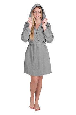 Ladies Robe Waffle Knit Hoodie Robe Travel Short Hooded Spa Bathrobe    (Hooded Robe Short)