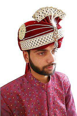 Wedding Pagri Men Hat Indian Pag Groom Safa Top Hat Turban Velvet New 7 1/8