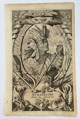 ATHABALIBA 1671 MONTANUS RARE ANTIQUE ENGRAVED PLATE 17TH CENTURY