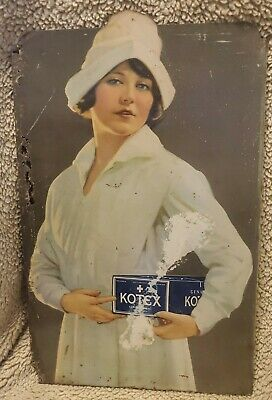 Vintage Advertising KOTEX SANITARY NAPKINS Metal Lithosign Sign circa 1930s