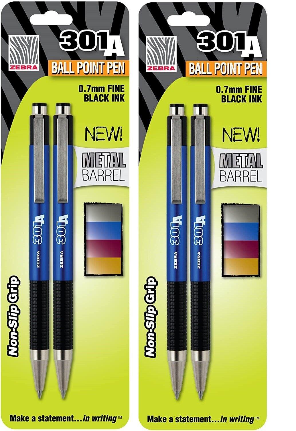 2 Packs – Zebra 301A Ballpoint Pen, Black Ink, Fine Point, 0.7mm, New in Pack Ballpoint & Rollerball Pens