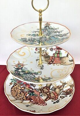 Williams Sonoma TWAS the NIGHT BEFORE CHRISTMAS 3-Tier Dessert Cake Stand Tower