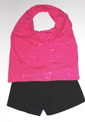 NATALIE girl JAZZ DANCE SHORTS & OPEN BACK SHIRT dance clothes size 8/10 & 12/14