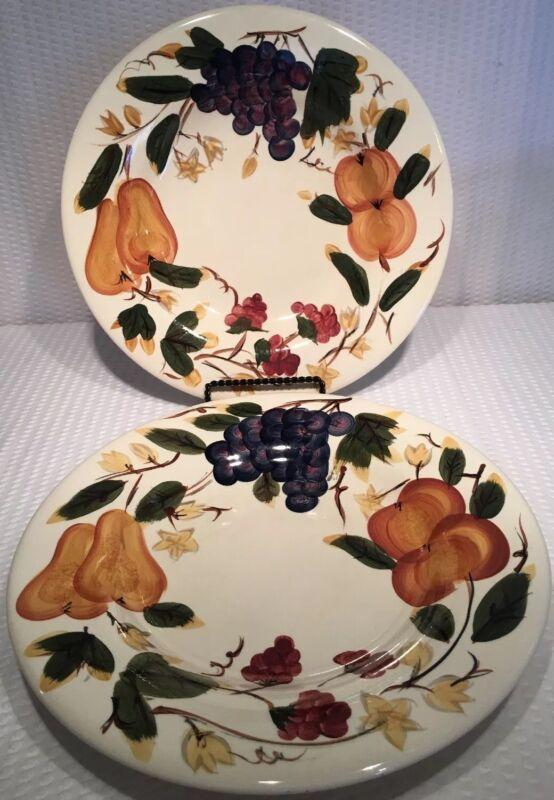 "Lot Of 2 ~ 11"" HD Designs Fruit Dinner Plates Grapes/Pears/Cherries ~ EC"