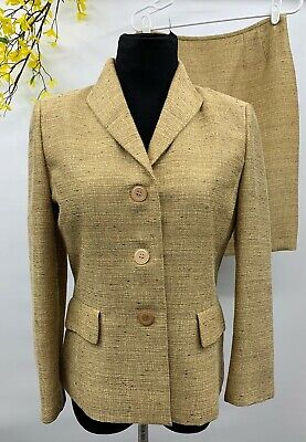 Le Suit Women's Gold Polyester Blend 2 Piece Skirt Suit Size 6 EUC.