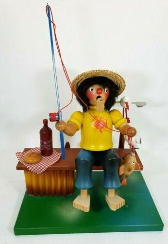 Vintage Music Box Smoker Fisher Man Incense Burner Ulbricht Erzgebirge REUGE
