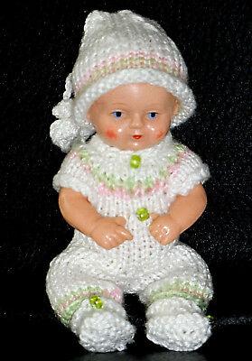 3-tlg Set Anzug Mütze Schuhe Schildkröt SK  Mini- Puppen 8,5 cm  Puppenstube neu