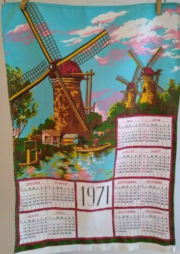 Vintage French 1971 Calendar Tea Towel Dish Towel Windmills Stream Clouds Boat
