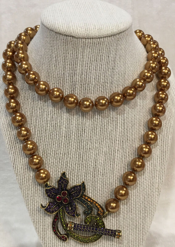 Heidi Daus Vintage Floral Design Gold Bead Toggle Necklace