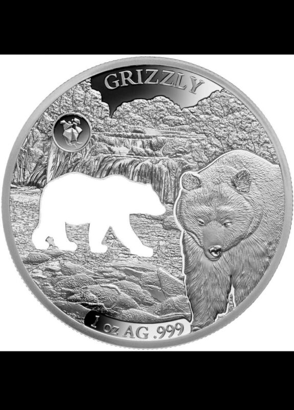 2020 Barbados Shapes America 1 oz Proof-Like Silver Grizzly MINTAGE ONLY 7500
