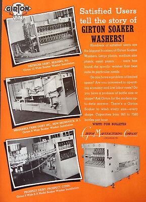 VINTAGE 1951 AD {XX21}~GIRTON MFG. CO. MILK BOTTLE SOAKER WASHERS. MILLVILLE, PA