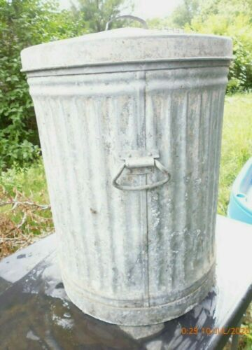"antique 27""  INDUSTRIAL HEAVY STEEL GARBAGE PAIL TRASH ASH CAN USA LID No 3"