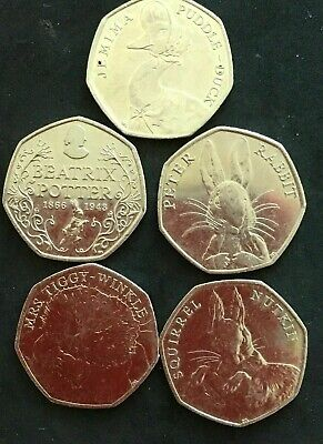 JEMIMA PUDDLE DUCK, FULL SET OF 2016 BEATRIX POTTER 50p COINS from sealed bags