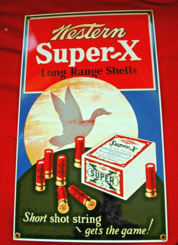 ORIG OEM WINCHESTER WESTERN Super X Enameled Sign Company Issued Made in USA