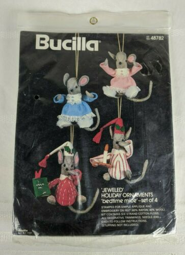Bucilla BEDTIME MICE Felt Jeweled Holiday Ornaments Kit Set of 4 #48782 NEW