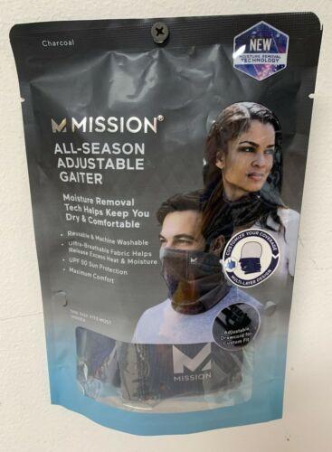 Mission All Season Neck Gaiter Mask Unisex Black Adjustable Drawcord Adult NWT