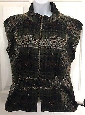 CAbi Wool Blend Cap Sleeve Green Black Plaid Vest Medium EUC Style #611 for sale  West Sacramento