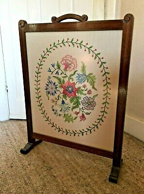 Traditional fire screen, embroidered panel wooden surround non-reflective glass